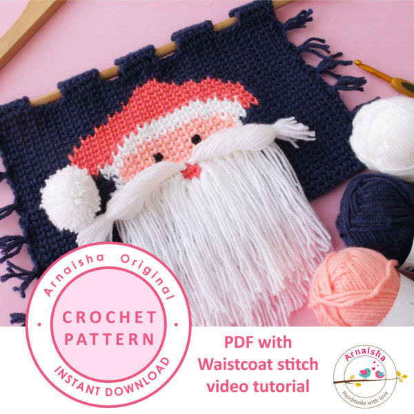 Beautiful-Knit-like-Crochet-wall-hanging-with-Santa-Face--Thumbnail